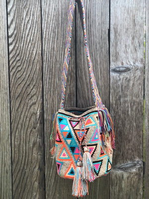 Colorful Crochet Bag - Crossbody Boho Bag -  Shades of Brown Style MWM0039