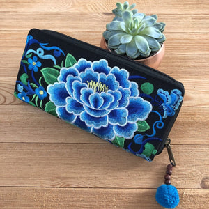Blue Embroidered Bohemian Wallet- Boho Chic Clutch Bag- Boho Wallet