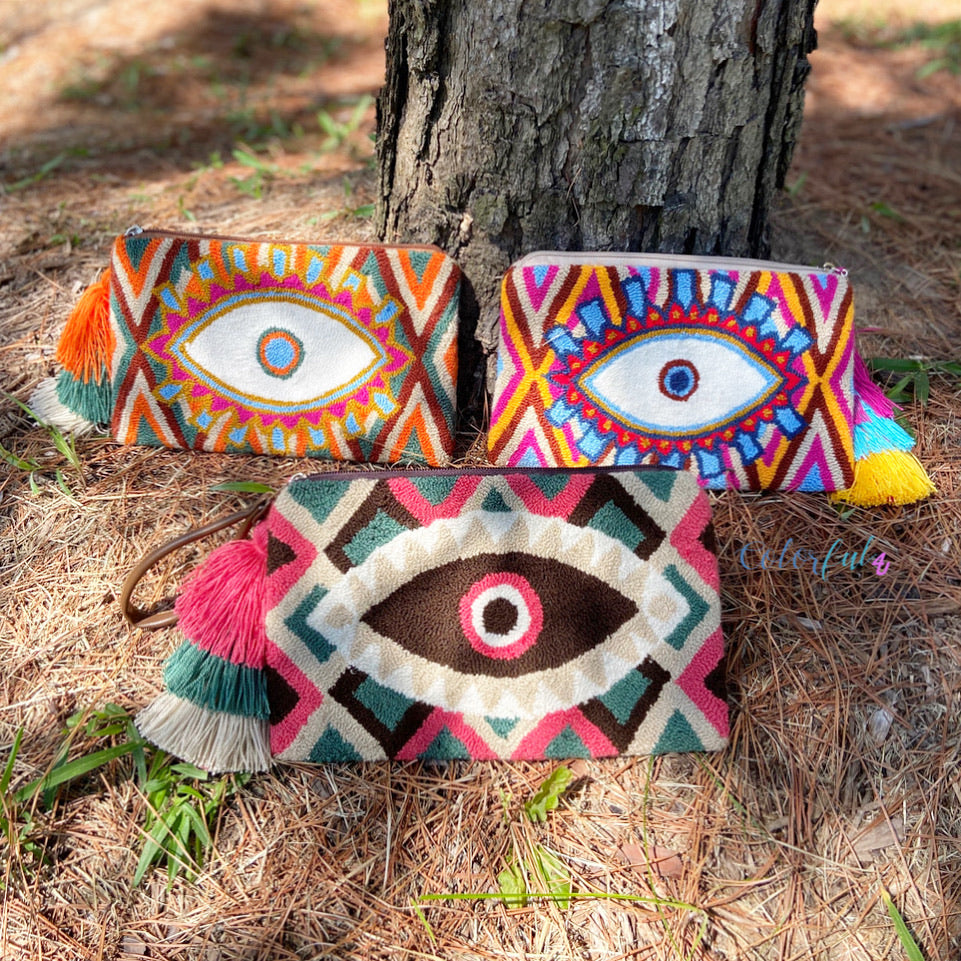 Colorful Evil Eye Clutch | Tapestry Bags | Wayuu Clutch Bag | Bohemian