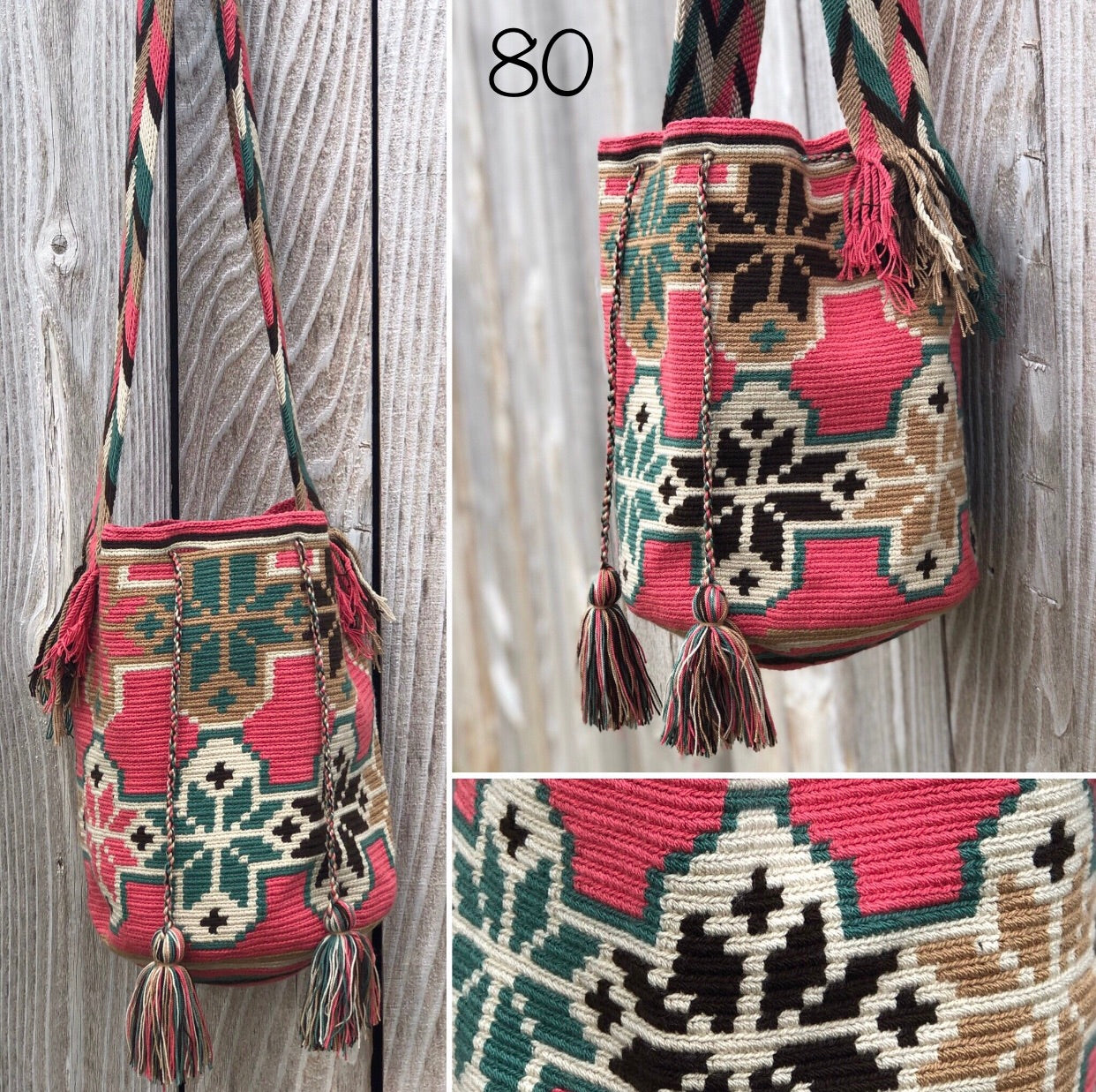 Colorful 4U | Desert Dreams Bag | Crossbody Boho Bags for Fall | Wayuu Mochila | Bohemian Bucket Bag Rose flowers