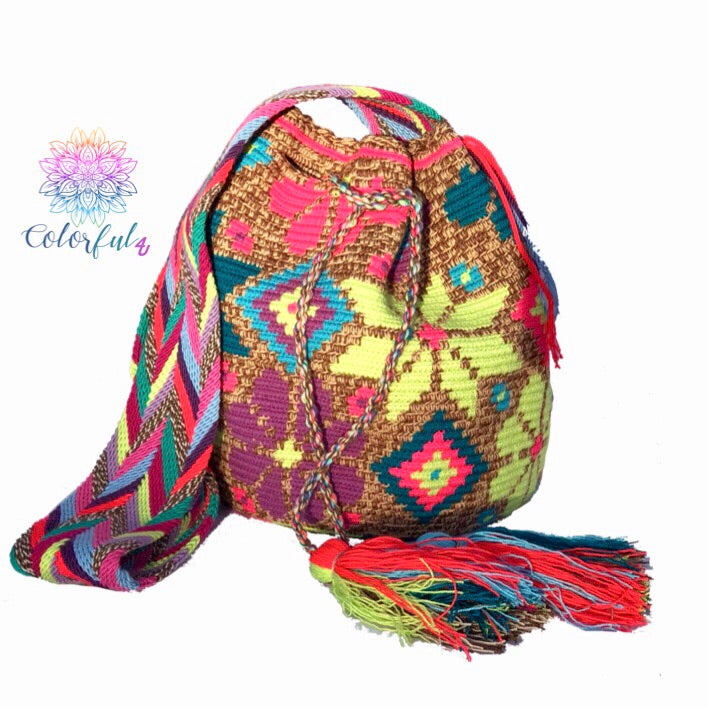 Colorful Crochet Bag - Crossbody Boho Bag -  Shades of Brown Style MWM0041