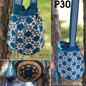 Blue Crochet Bags-Crossbody Boho Bag- Bohemian Wayuu Bag-Fashion Bag