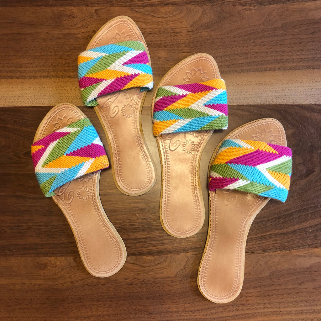 Colorful Handwoven Sandals - Boho Slide Sandals SWF017
