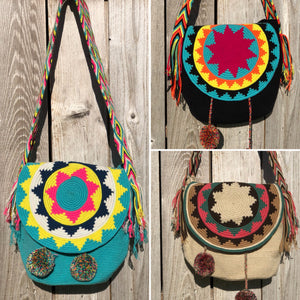 Colorful 4U Crochet Bags w/ Cover | Crossbody Bohemian Bag | Casual Bag