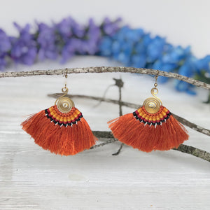 ORANGE Tassel Earrings-Woven Silk Thread Fringe Earrings-Tribal-Boho