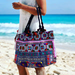 Colorful Embroidered Tote Bag - Boho Chic Large Handbag - Style CEPTB01