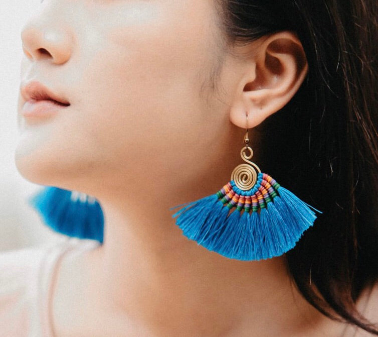 BLUE Tassel Earrings-Woven Silk Thread Fringe Earrings-Tribal-Boho