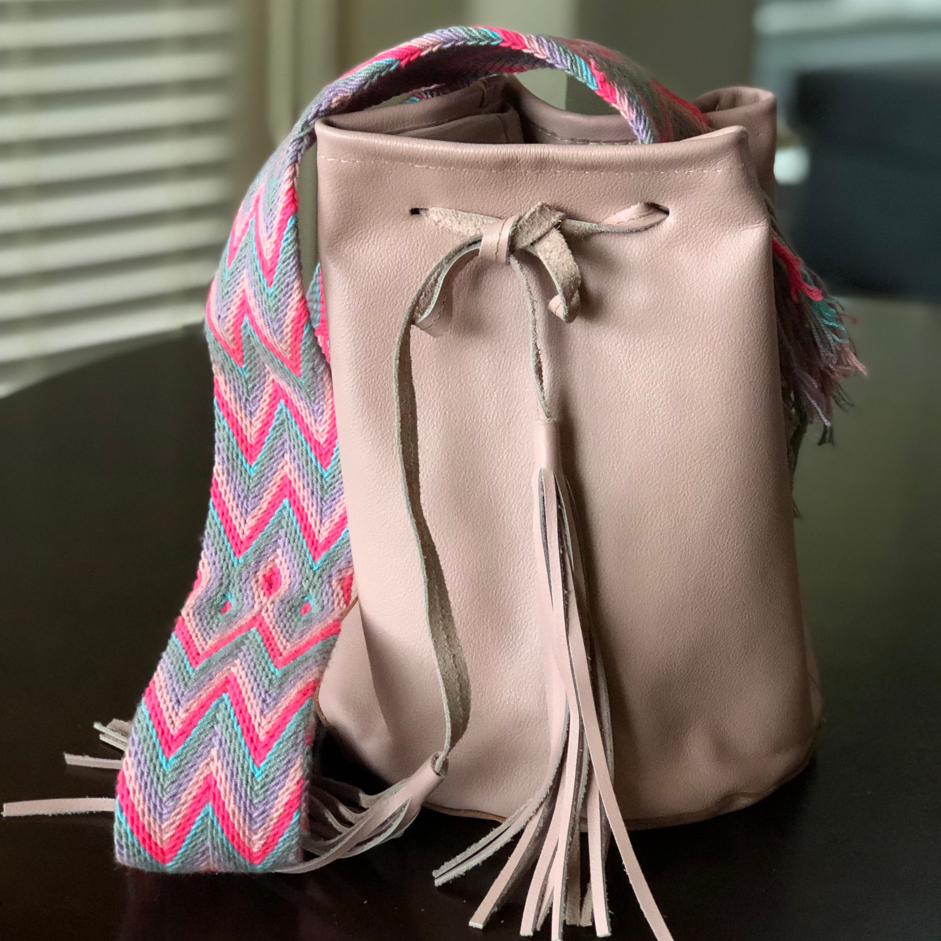 Colorful Leather Bags- Crossbody Bucket Bags - Boho Style
