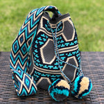 Special Edition Crochet Bag - Gray & Turquoise Crossbody Bag -  Boho Style MWDE35