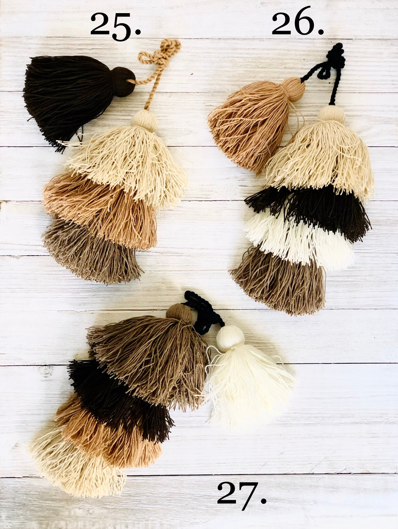 Brown Tassel Bag Charms - Boho Pompom/Tassel Charms - Purse Charm