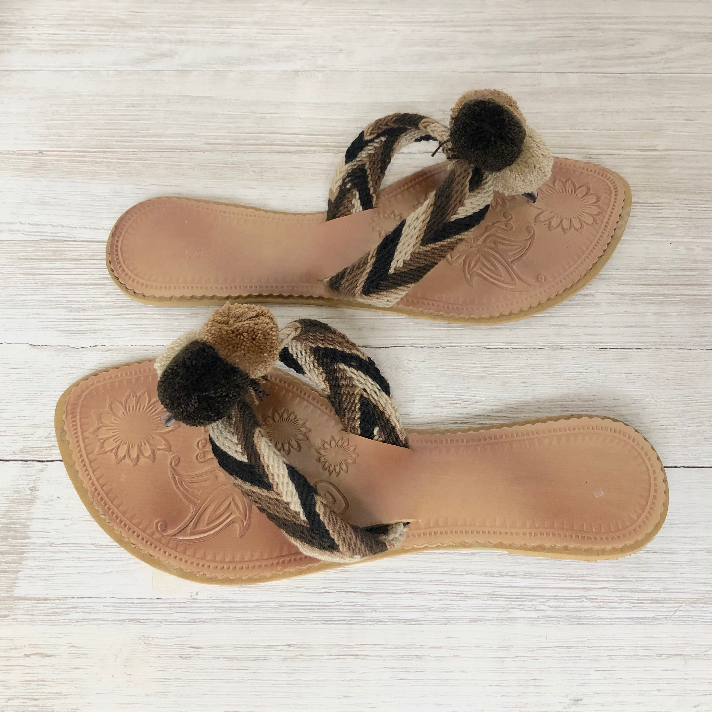Shades of Brown Pom Pom Sandals - Summer Flip Flops-BEACH FLATS-SLIDES