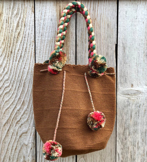 CAMEL Braided Handle Boho Bag -Crochet Pompom Handbag - Bohemian Bag -Wayuu