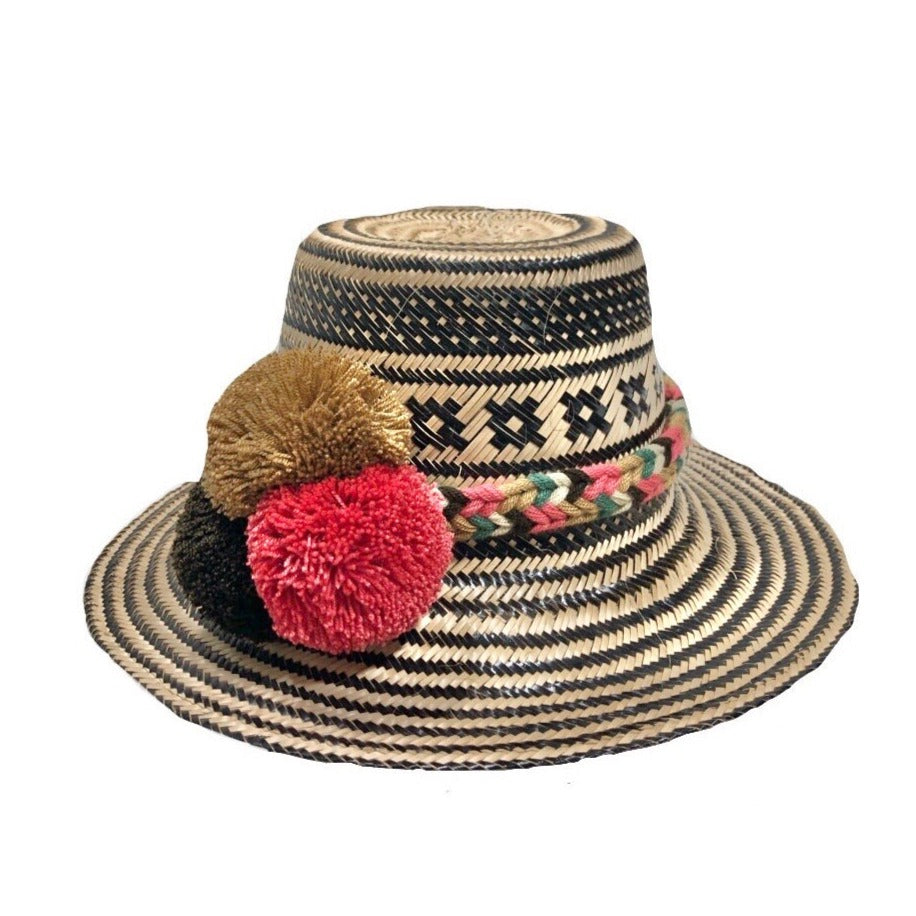 Black Handwoven Hat with Colorful Pompom Band