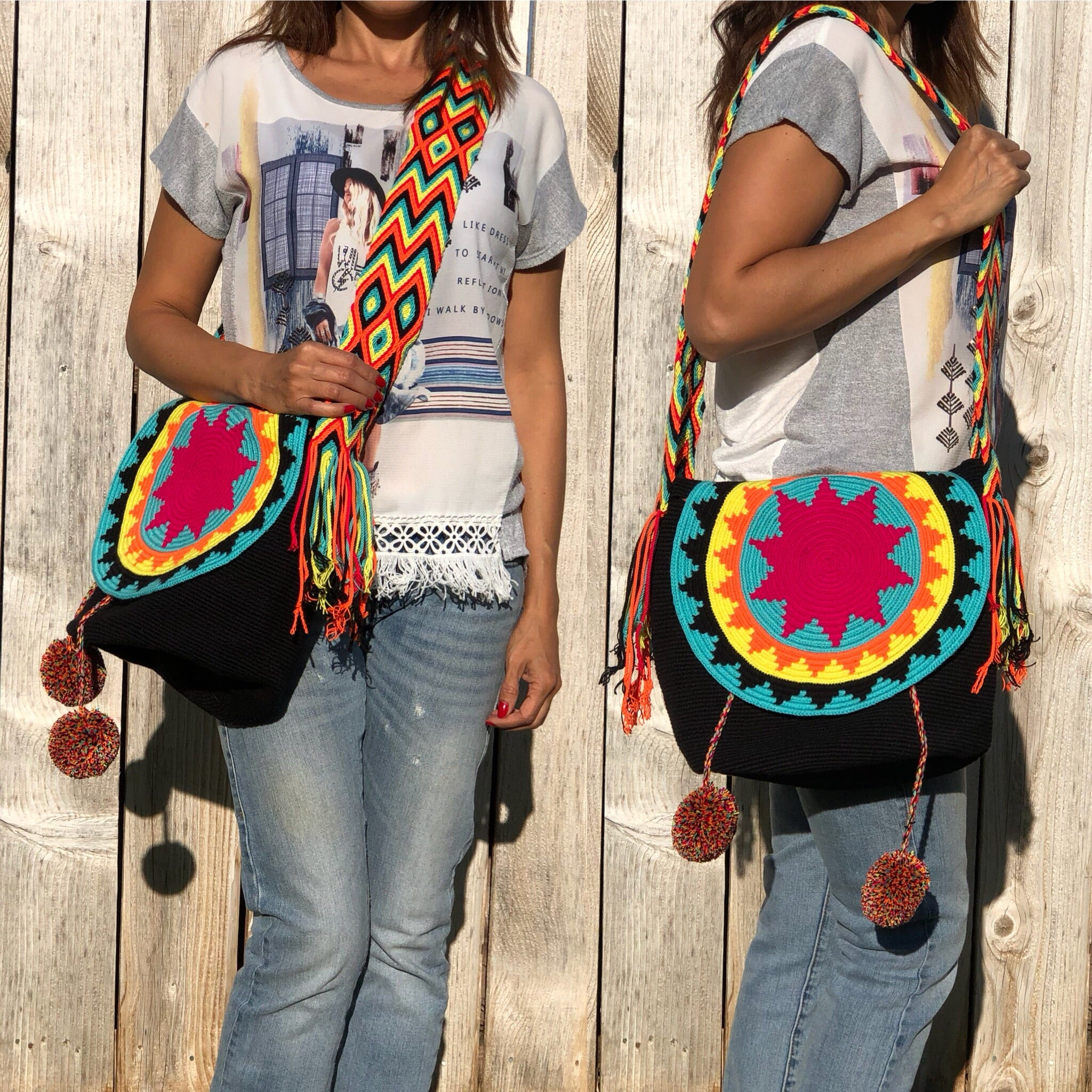 Black Colorful 4U Crochet Bag w/ Cover | Crossbody Bohemian Bag | Casual Bag