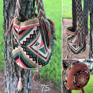 Colorful 4U | Desert Dreams Bag | Crossbody Boho Bags for Fall | Wayuu Mochila | Bohemian Bucket Bag 57 triangles