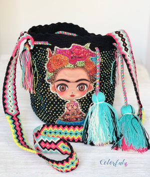 FRIDA Kahlo Bag - Black Crossbody Bucket Bag-Boho Wayuu Bag-Medium Bag