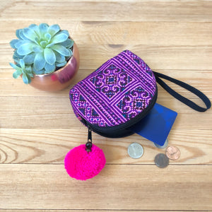 PINK Embroidered Coin Purse-Bohemian Mini Purse-Boho Chic Wristlet