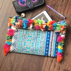Bohemian Clutch with Colorful Tassels- Boho Clutch Bag-Vintage Ipad Case