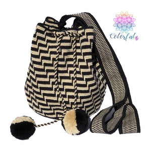 Special Edition Crochet Bag - Black Crossbody Boho Bag -  Style MWDE22