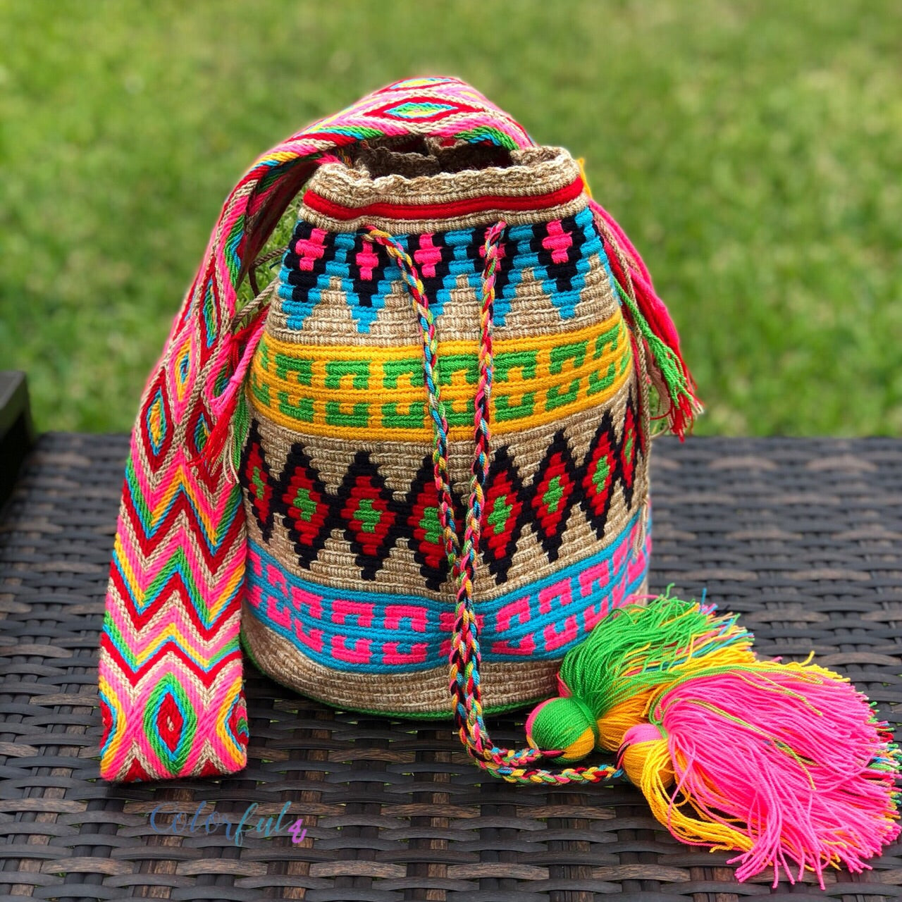 Colorful Crochet Bag - Crossbody Boho Bag -  Shades of Brown Style MWM0064