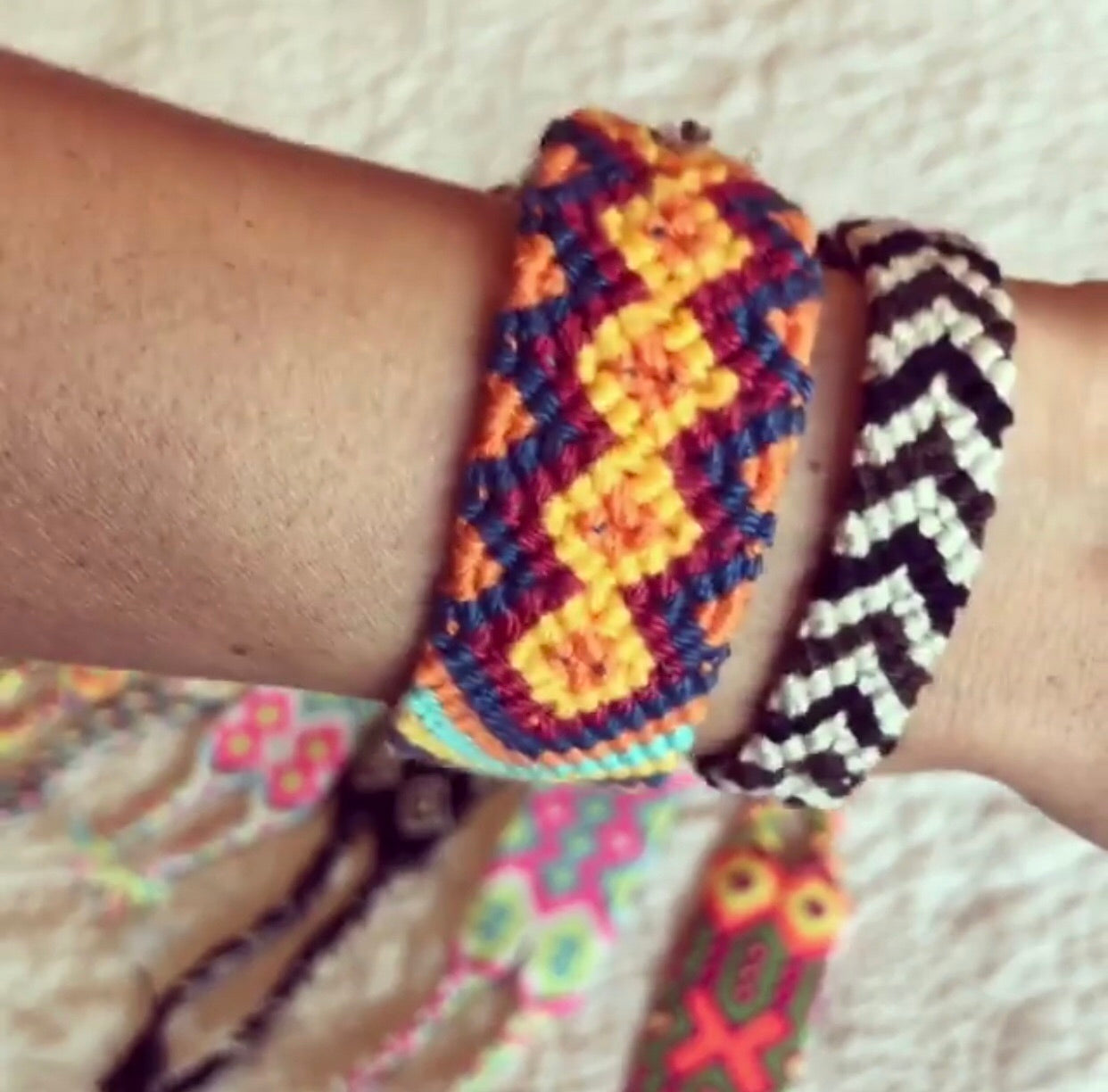 Wearing Friendship Bracelets | Colorful wrist bands | Macrame Bracelet | Wayuu