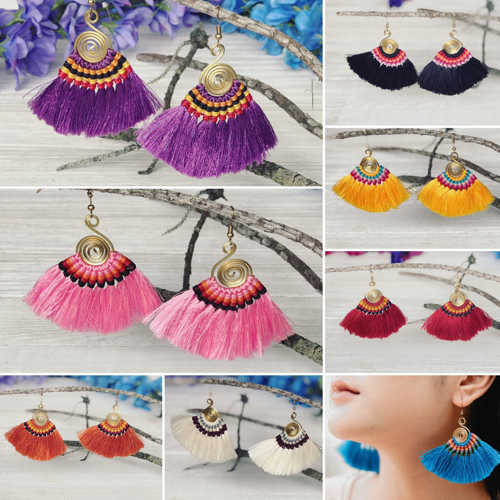 Colorful Tassel Earrings-MULTICOLOR Woven Silk Thread Fringe Earrings-