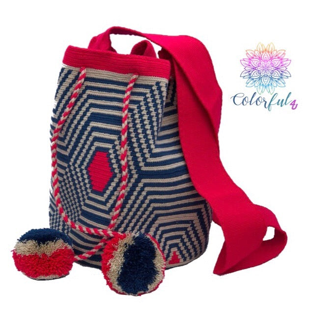 Special Edition Crochet Bag - Blue/Fuchsia Crossbody Boho Bag -  Style MWDE33