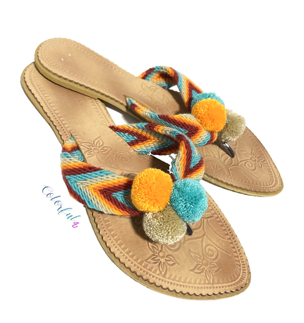 Desert Sunset Beach Sandals - Cute Pompom Sandals