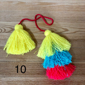 Colorful Tassel Tote-Bag Charms -Large Straw Bag Tassel Charm