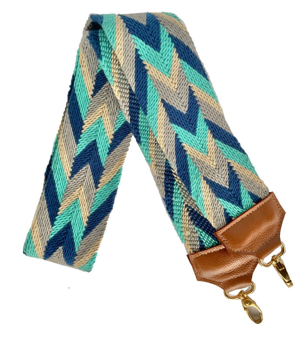 Turquoise Blue Bag Strap-Camera Strap-Strap Replacement-Woven-leather-straps