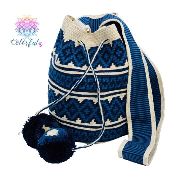 Special Edition Crochet Bag - Blue Crossbody Boho Bag -  Style MWDE31
