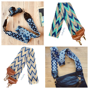 Blue Bag Strap-Camera Strap-Strap Replacement-Woven-leather-straps