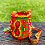 PREMIUM Mini Croche t Bag - Authentic One-thread Wayuu Bag -  Style MWPP18 Orange