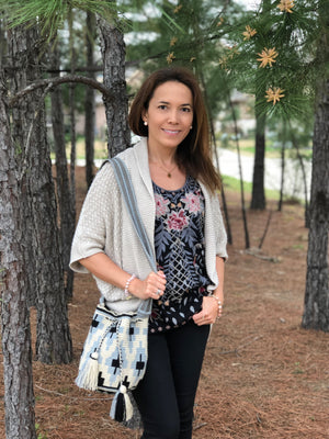 Gray Off-White & Black - Crochet Fashion Bag - Crossbody Boho-Wayuu Mochila