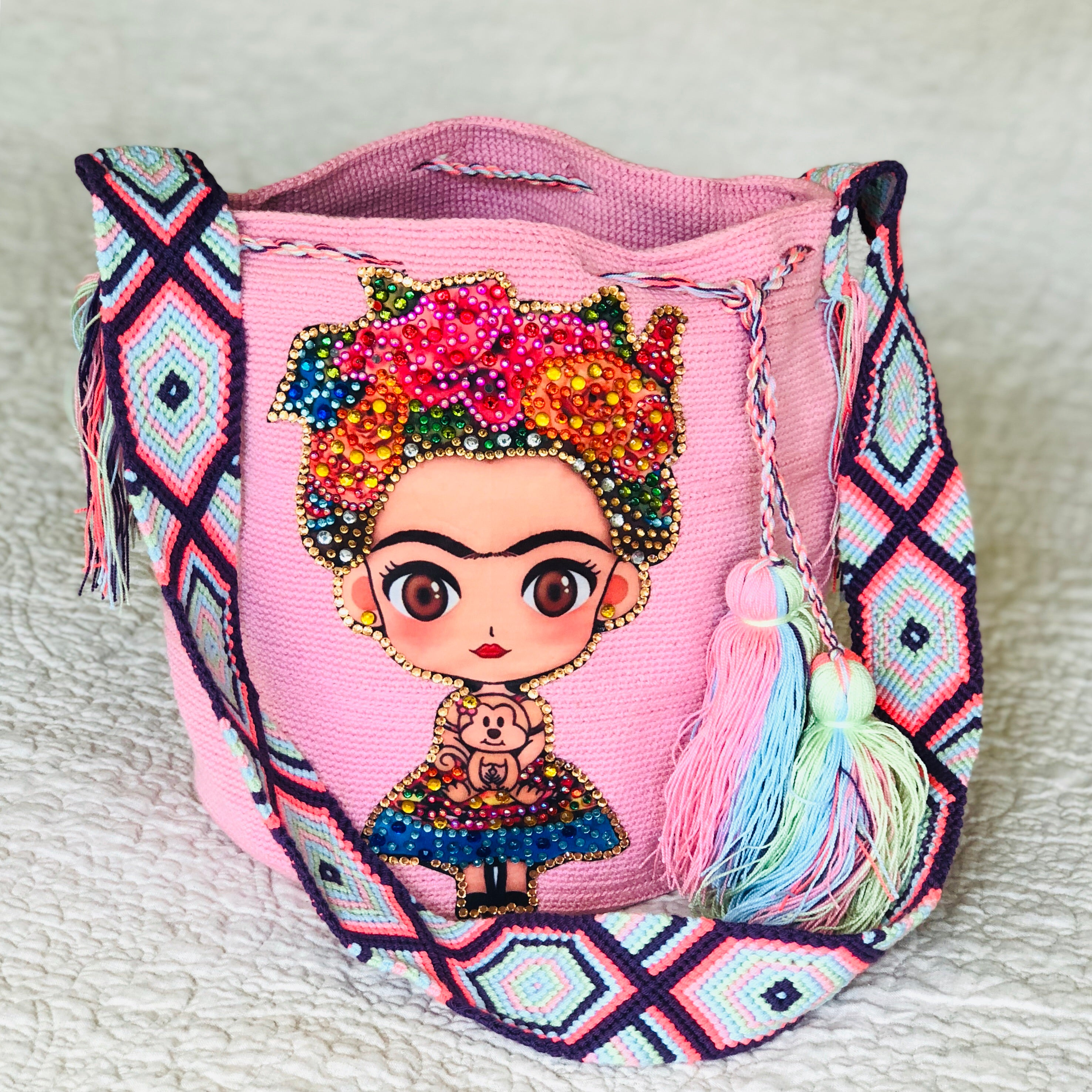 PINK FRIDA Inspired Crochet Bag - Crossbody Bucket Bag-Boho -Wayuu