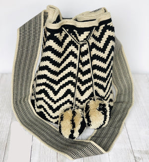 Black and White Crochet Bag | Stylish Bag | Chevron Pattern | pompoms