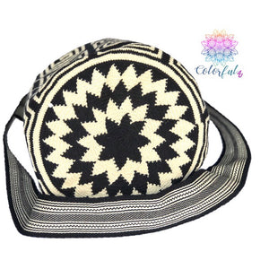 Special Edition Crochet Bags - Black & Beige Crossbody Boho Bag -  Style MWDE10