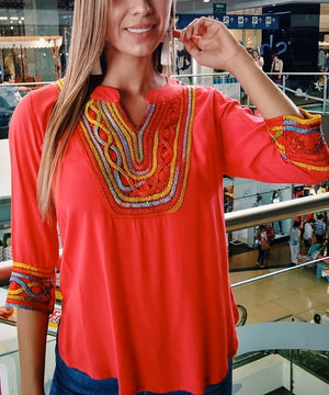 Hand-Embroidered Casual Blouse