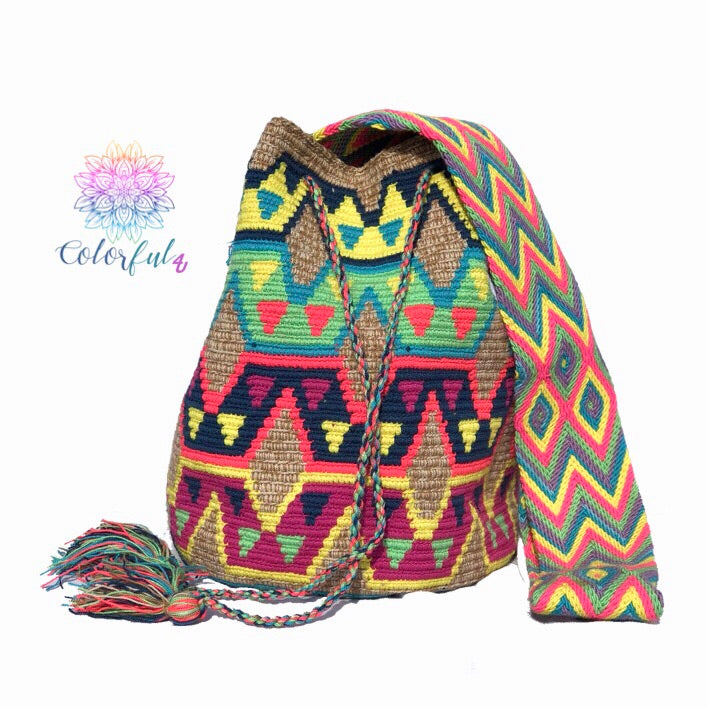 Colorful Crochet Bag - Crossbody Boho Bag -  Shades of Brown Style MWM0038