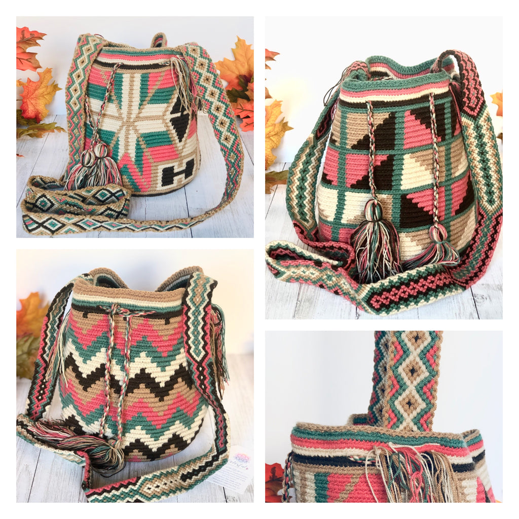 Rose-Sage-Brown Medium Crochet Bags | Crossbody Bucket Bag | Bohemian