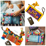 Colorful Boho Clutch Bags with Pompoms/Tassels | Bogemian Bags