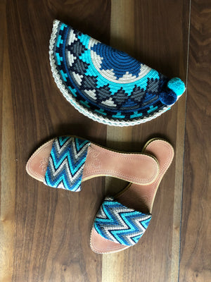 Blue Crochet Clutch Bag- Crochet Clutch Purse - Crochet Pouch - Wayuu Style