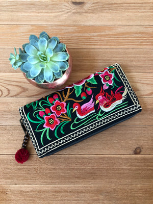 Embroidered Wallet -Ducks- Boho Chic Wallet/Clutch Bag- CEWT05