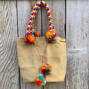 BEIGE Braided Handle Boho Bag -Crochet Pompom Handbag - Bohemian Bag -Wayuu