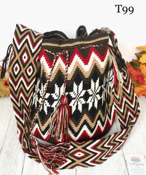 Red and brown Handbag for Fall/Winter | Crossbody Crochet Bag | Boho Bag | Wayuu Mochila