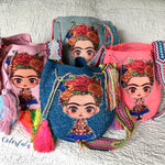 FRIDA Inspired Crochet Bag - Crossbody/Shoulder Bucket Bag-Boho -Wayuu