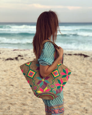 Colorful Beach Tote Bag - Summer Crochet Bag