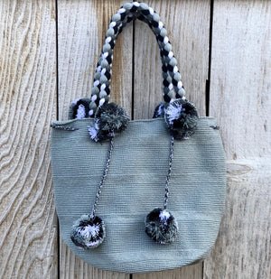 LIGHT GRAY Braided Handle Boho Bag -Crochet Pompom Handbag - Bohemian Bag -Wayuu
