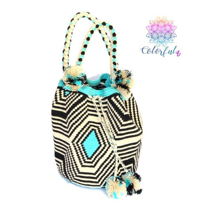 Crochet Boho Bag with braided Handles-Turquoise/black Shoulder Bucket Bag
