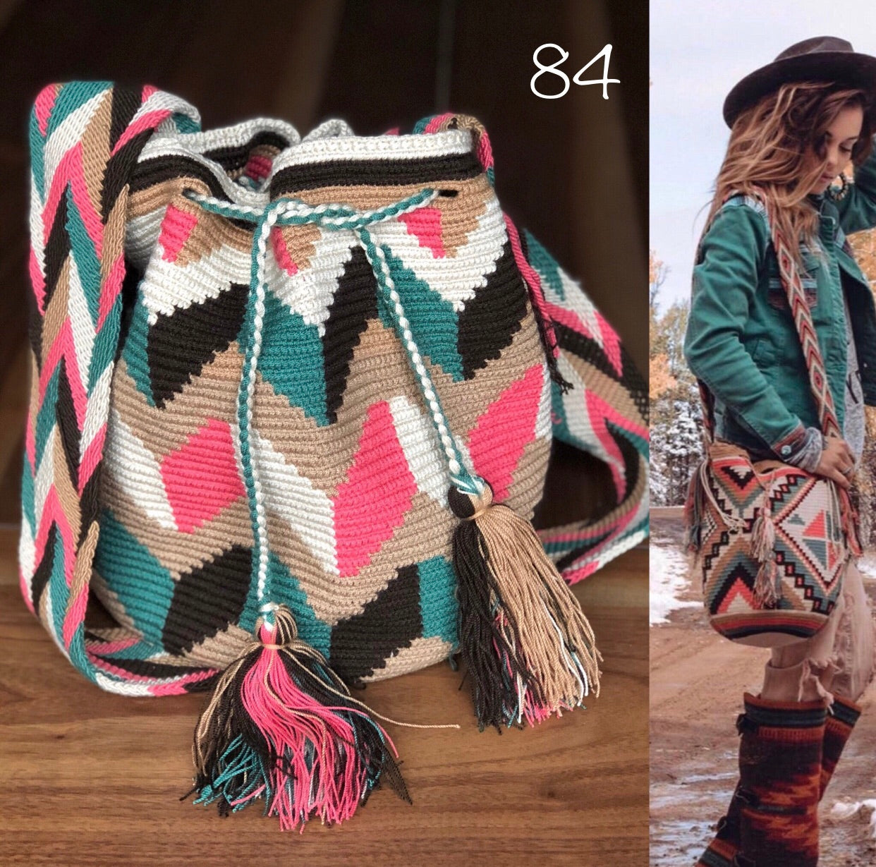 Colorful 4U | Desert Dreams Collection | Crossbody Boho Bags for Fall | Wayuu Mochila | Bohemian Bucket Bag 84-zig zag
